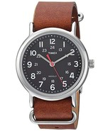 Timex Unisex Tw2r63100 Weekender 38mm Brown Leather Strap Black Face Watch - $48.12
