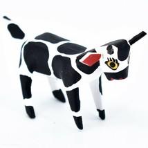 Handmade Alebrijes Oaxacan Wood Carved Painted Folk Art Cow Miniature Figure image 1