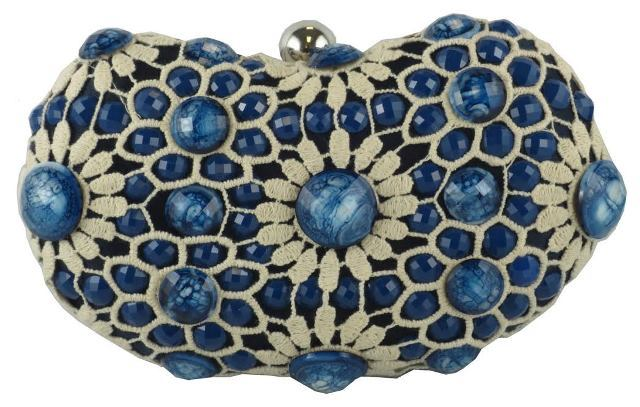 Primary image for Sondra Roberts Sophisticated Crochet Jewel Beaded Sapphire Blue Evening Clutch