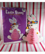 """Charming Vintage 1980's Beistle Diecut Honeycomb Easter Bunny 12"""" Center... - $10.00"""