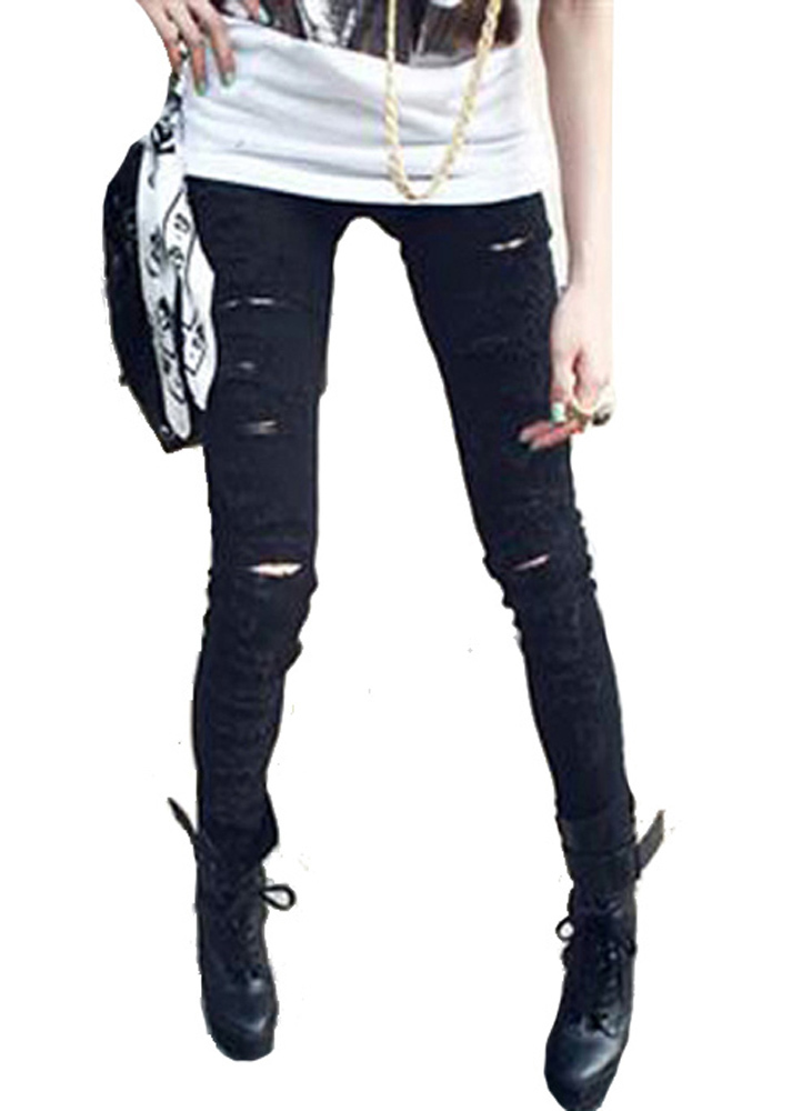 Primary image for Celebrity Style Black Ripped Torn Destroyed Skinny Jeans Pants -jn13B