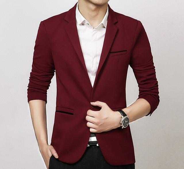Men Slim Fit Business Dress Suits Jacket 5 Colors Plus SIze 5XL