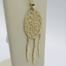 18K YELLOW GOLD DREAMCATCHER PENDANT, FEATHER, MADE IN ITALY, 1.8 INCHES, 45 MM image 2