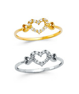 14k Yellow or White Gold - Women's Open Heart Eternity CZ Fashion Ring, 5 - 9 - $93.00 - $114.00