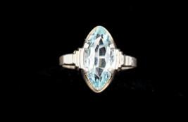 Antique Art Deco Sterling Silver Light Blue Marquis Cut Paste Stone Ring... - $56.02