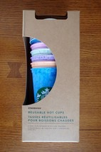New Starbucks Reusable Hot Cups 6 Pack Lids Limited Edition NOT Color Changing - $48.37