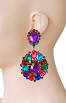 "3.25"" Long Cluster Clip On Earrings, Multicolor Rhinestones, Drag Queen,... - $18.95"