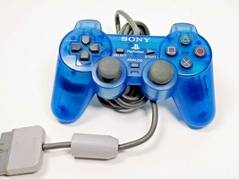 Sony Authentic PS1 Analog Controller SCPH-1200 Clear Blue Playstation TE... - $19.79