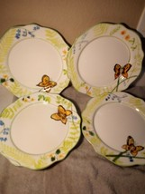 (4) Excel Farberware Dinner PLATES--SPRING FLIGHT--BUTTERFLIES---FREE SHIP--VGC - $37.97