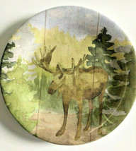 "Moose Melamine Plates 7.75"" Salad Dessert Lunch Bread Set of 4 Rustic Ca... - $44.43"