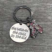 Figure Skating She Believed She Could So She Did Keychain, Pink Rhinestone - $15.00
