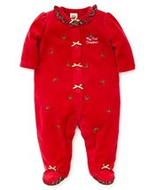 Little Me Baby Girl's Velour Footie Pants, Holly Plaid Christmas red/Gol... - $34.12
