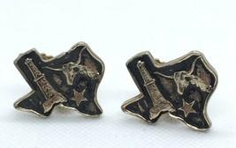 Vintage Texas State Shape Clip On Earrings Gold Tone Longhorn Bull Star Oil - $15.60