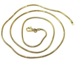 """SOLID 18K YELLOW GOLD CHAIN ROUND BOX SNAKE 1.5 mm, BRIGHT, 45cm, 18"""" inches image 1"""