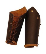 Knights battle arm bracers, brown leather, larp - $39.00