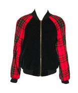 80s Grunge Hip Hop Quilted Black Velour Wool Tartan Unisex Retro Bomber ... - $95.00