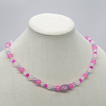 Pink glass bead necklace. - $39.99