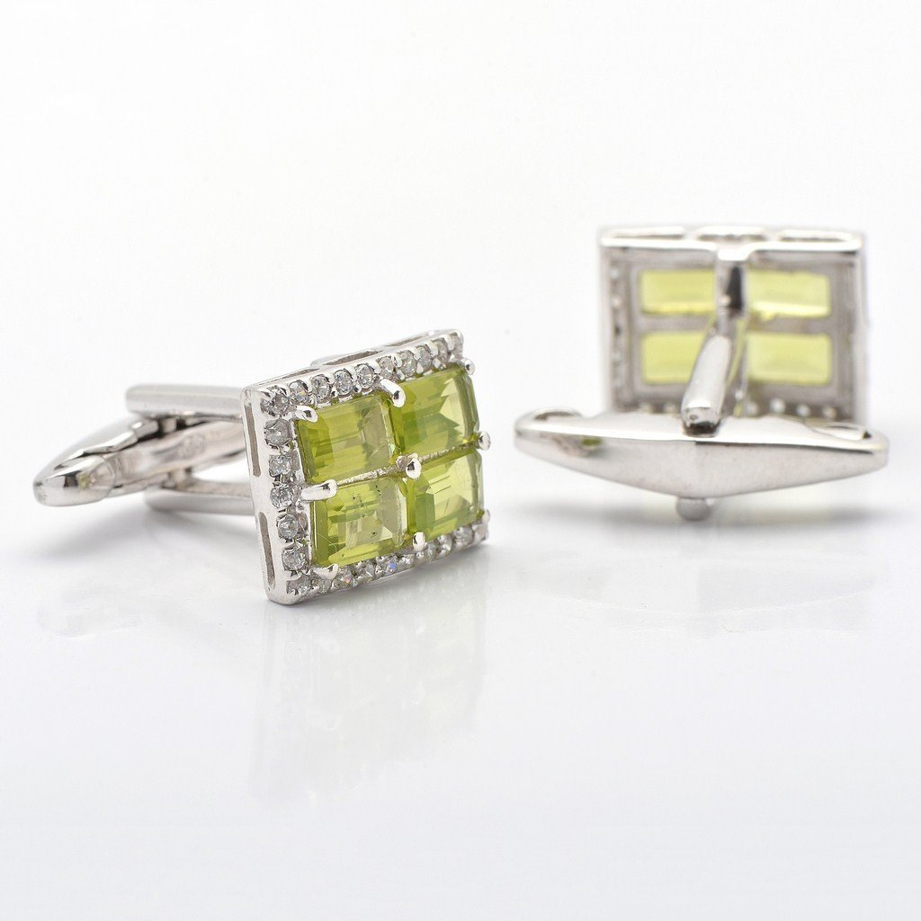 925 Sterling Silver Natural Fine Quality Peridot And CZ Gemstone Artistic Design