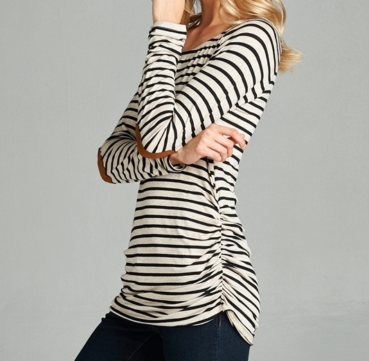 Oatmeal Striped Top, Black Striped Shirt, Shirred Striped Top, Hailey, Womens