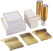FOCUS LINE 350 Piece Square Dinnerware Set-50 Gold Rim Dinner Plastic Pl... - $85.99+