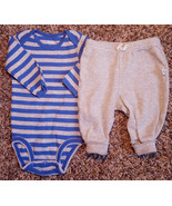 Boy's Size 3 M 0-3 Months 2 Pc Blue/ Gray Carter's L/S Top & Gray Old Na... - $12.00