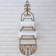 TUSCAN/COUNTRY WROUGHT IRON TOWEL RACK WITH BASKET - $114.95