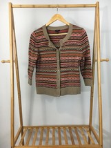 Talbots Women's Fair Isle Knitted Button Wool Blend Cardigan Sweater Size LP - $11.87