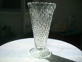 "Indiana Glass Diamond Point Clear 8"" Flower Vase  c1960's - $24.74"