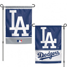 "LOS ANGELES DODGERS TEAM GARDEN WALL FLAG BANNER 12"" X 18"" 2 SIDED MLB B... - $13.92"