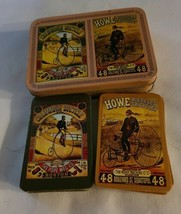 Columbia High Wheel Bicycle & Howe Velocipede Playing Cards Set w/ORIGINAL Tin - $24.75