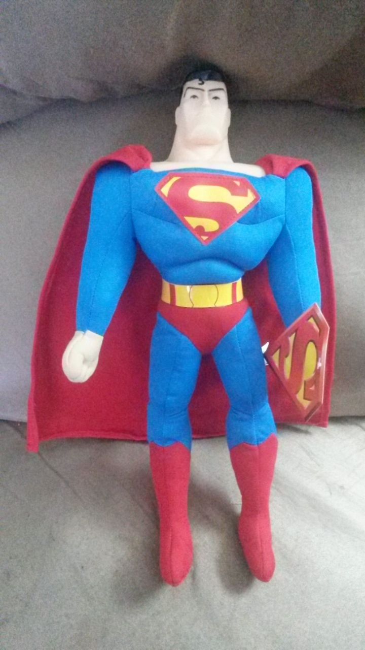 "Primary image for SUPERMAN Standing Tall Classic Brand New Licensed Plush NWT Tags 15"" Toy Factory"