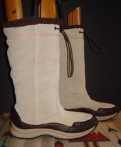 Women's Lands End Light Tan/Putty Suede Leather Lined Boots Sz. 6B Excel... - $49.01