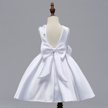White  Satin Short Flower Girl Dress Scoop Kids Evening Gowns 2019 Newly Kids image 4
