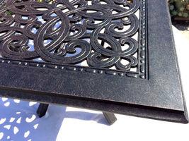 Outdoor Coffee Table Rectangular Patio Cast Aluminum Furniture Desert Bronze image 5