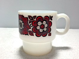 Retro Vintage Mid Century White Milk Glass Style Coffee Cup Mug Black Re... - $14.95