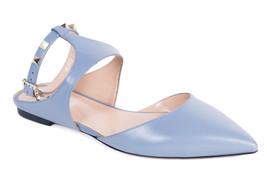 Valentino Rockstud Blue Pointed Toe Ballerina Flats Size IT39/US9~Retail... - $803.22