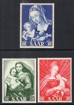 1954 Virgin Mary Paintings Set of 3 German SAAR Stamps Catalog Number 250-52 MNH