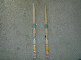 2 Vintage Wood Croquet Large stakes replacement parts 24 1/2'' high antique - $29.99