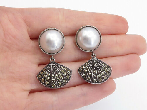 Primary image for 925 Sterling Silver - Vintage Pearl Dome & Marcasite Linked Drop Earrings- E9452