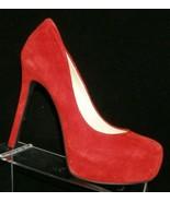Jessica Simpson 'Rebeca' red suede round toe slip on platform heels 9M 6720 - $33.30