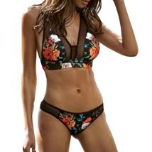 Women's Floral Printing PushUp Padded Bra Beach Bikini Set Swimwear Beachwear F image 3