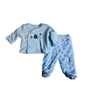 Baby Boy Blue Elephant 2 Piece Set with Long Sleeve Top Footie bottoms 9... - $16.14