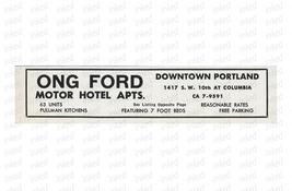Ong Ford Motor Hotel Apts Ad Portland Oregon Kitchens 1964 Roadside Ad Travel - $10.99