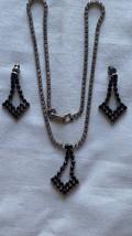 Antique black/white rhinestone triangle pendant necklace/dangle earrings... - $18.00