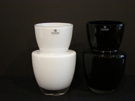 Pair of Zodax Snow White/ Black Vases w Clear Base-Made in Poland  - $39.00