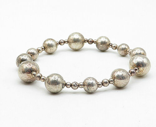 925 Sterling Silver - Vintage Smooth Ball Bead Patterned Chain Bracelet - B5664