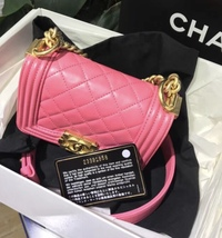 Auth Chanel Quilted Lambskin Pink Mini Boy Flap Bag Gold Hardware RARE  image 2