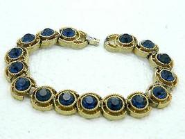 VTG 1960s CROWN TRIFARI Gold Tone Cavalcade Blue Rhinestone Clasp Metal ... - $79.20