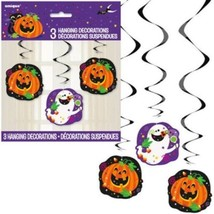 "Happy Halloween Ghost Pumpkin 26"" Hanging Swirl Cutouts 3 Pc Decor - $2.99"