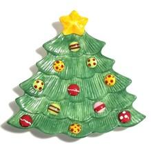 "Fitz & Floyd Snowflake & Jake 7.5"" Christmas Tree Shaped Snack Plate - $9.85"